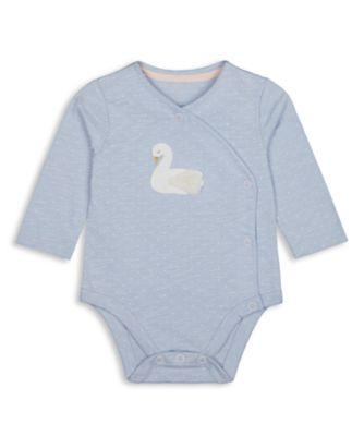 Mothercare Girls Little Swan Blue Long Sleeve Bodysuit