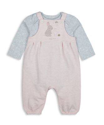 Mothercare My First Girl - Little Bunny Slub Loopback Dungaree set