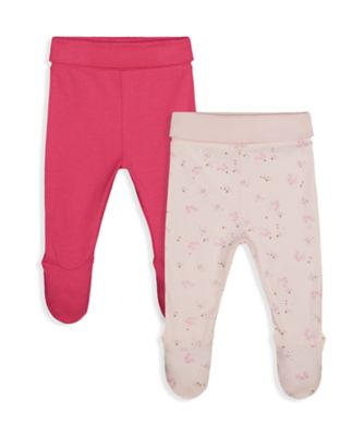 Mothercare Girls Little Swan Cotton Legging With Feet Cover - 2 Pack