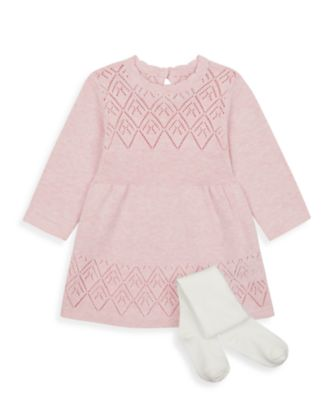 Mothercare My First Girl - Little Bunny Knitted Dress and Tights Set