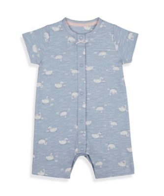 Mothercare Girls Little Swan Blue Allover Print Romper