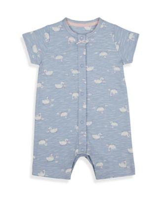 Mothercare Girls Little Swan Blue Allover Print Romper