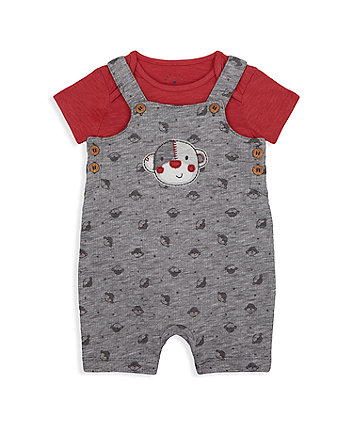Mothercare Little Monkey Bibshorts And Bodysuit Set