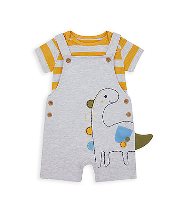 Mothercare Dinosaur Bibshorts And Bodysuit Set
