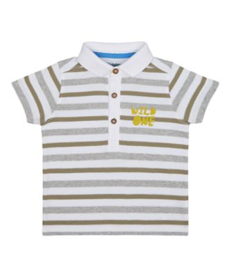 Mothercare City Explorer Knitted Stripe Polo Short Sleeve T-Shirt