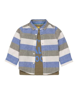 Mothercare City Explorer Multi Stripe Long Sleeve Shirt And T-Shirt Set