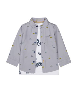 Mothercare Geo Dino Blue Dinosaur Long Sleeve Shirt And T-Shirt Set