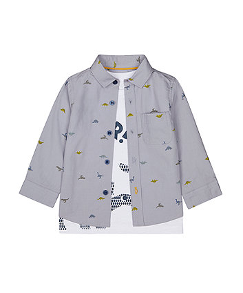 Mothercare Dinosaur Shirt And T-Shirt Set