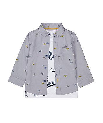 Mothercare Dinosaur Shirt And T-Shirt Set