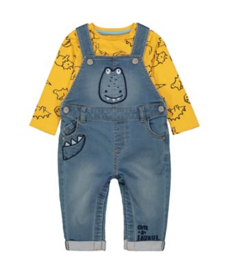 Mothercare Geo Dino Dungaree And Long SleeveT-Shirt Set