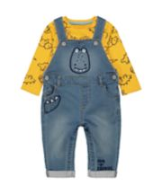 Mothercare Dinosaur Dungaree Set