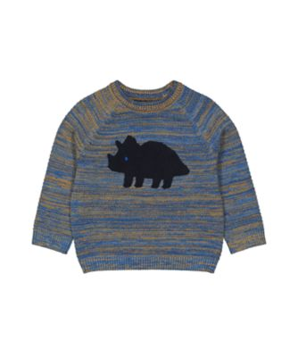 Mothercare Geo Dino Blue Mix Boucle Dinosaur Knitted Jumper