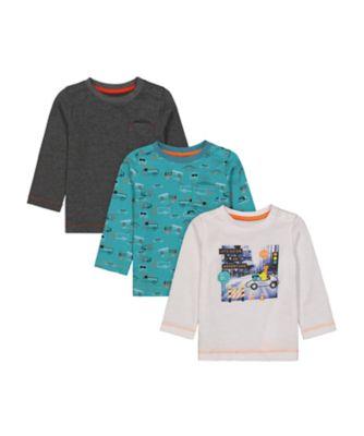 Mothercare Street Smart Long T-Shirt - 3 Pack