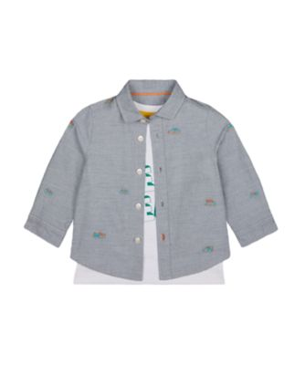 Mothercare Street Smart Embroidery Allover Print Long Sleeve Shirt And Short Sleeve T-Shirt Set