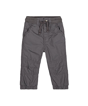 mothercare grey jersey-lined roll-up trousers