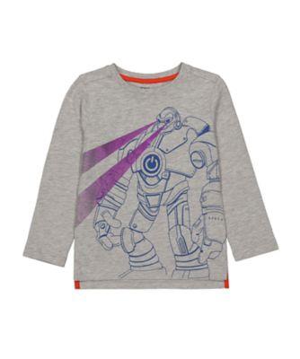 Mothercare Space Arcade Grey Marl Robot Foil T-Shirt