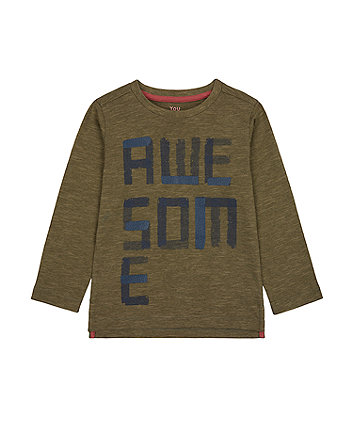 Mothercare Khaki Awesome T-Shirt