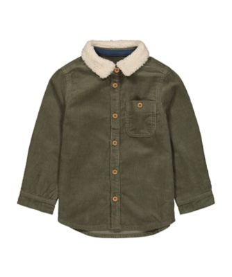 Mothercare Dusty Denim Khaki Corduroy Shirt With Borg