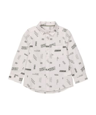 Mothercare Dusty Denim White Allover Print Seersucker Shirt