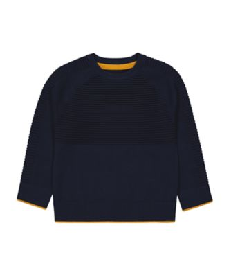 Mothercare Millenium Street Navy With Mustart Tip Knitted Sweater Top