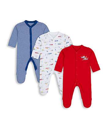 Mothercare Beep Beep Sleepsuits - 3 Pack