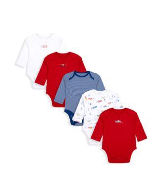 Mothercare Boys Beep Long Sleeve Bodysuits - 5 Pack