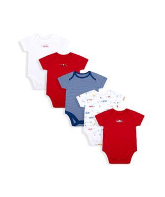 Mothercare Boys Beep Short Sleeve Bodysuits - 5 Pack