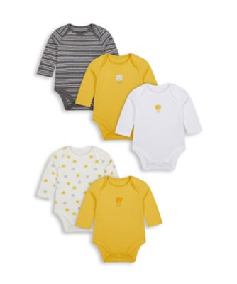 Mothercare Boys Beary Long Sleeve Bodysuits - 5 Pack