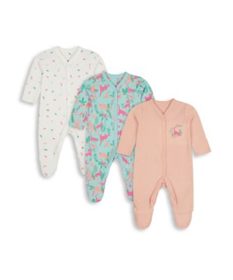 Mothercare Girls Dinosaur Sleepsuits - 3 Pack