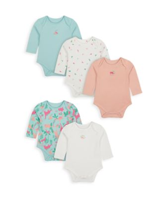 Mothercare Girls Dinosaur Long Sleeve Bodysuits - 5 Pack