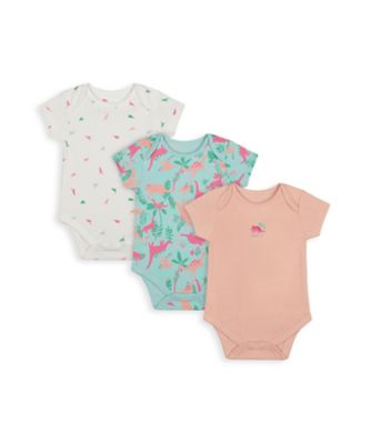 Mothercare Girls Dinosaur Short Sleeve Bodysuits - 3 Pack