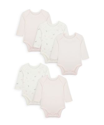 Mothercare Girls My First Long Sleeve Bodysuits - 5 Pack