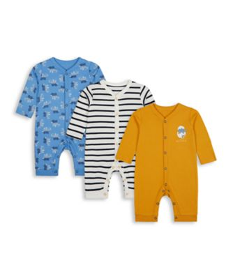 Mothercare Autumn Dino Footless Sleepsuits - 3 Pack