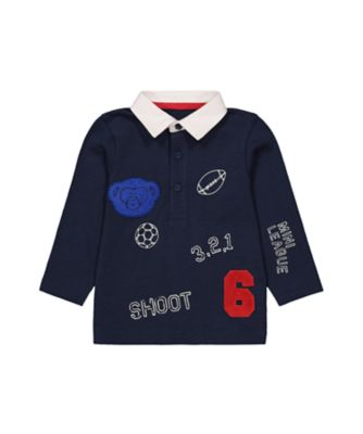 Mothercare MC61 Navy Badge Rugby Long Sleeve T-Shirt
