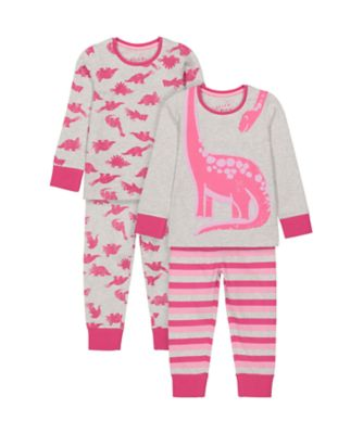 Mothercare Girls Dinosaur Pink Pyjamas - 2 Pack