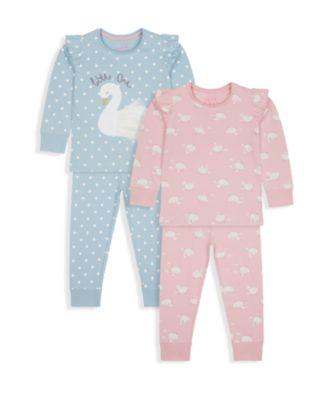 Mothercare Girls little Swan Pyjamas - 2 Pack