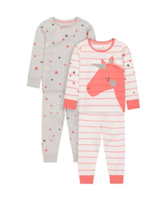 Mothercare Girls Party Horse Star Pyjamas - 2 Pack