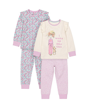 Mothercare I Woke Up Like This Lift-The-Flap Pyjamas - 2 Pack