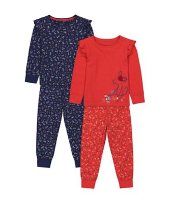 Mothercare Girls Red Mouse Pyjamas - 2 Pack