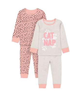 Mothercare Girls Cat Nap Pyjamas - 2 Pack