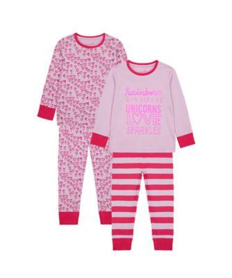 Mothercare Girls Rainbows Pyjamas - 2 Pack