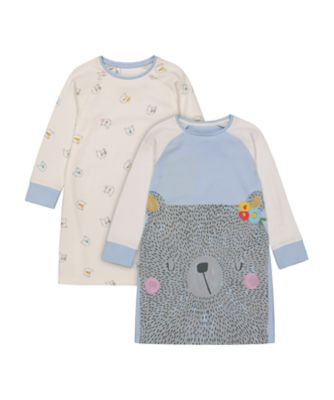 Mothercare Girls Bear Night Dress - 2 Pack