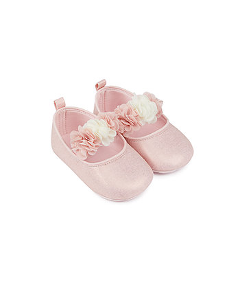 Mothercare Pink Shimmer Corsage Pram Shoes