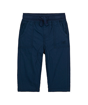 Mothercare Navy Jersey-Lined Roll-Up Trousers