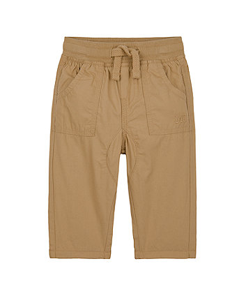 Mothercare Stone Jersey-Lined Roll-Up Trousers