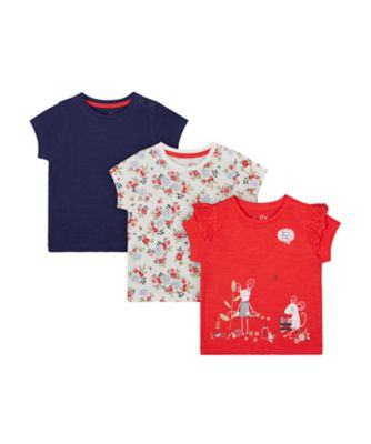 Mothercare Autumn Orchard Red, Printed And Navy Short Sleeve T-Shirt -3 Pack