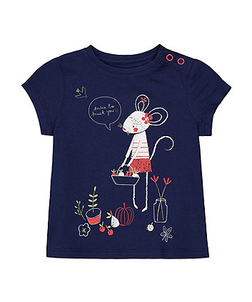 Mothercare Navy Mouse T-Shirt