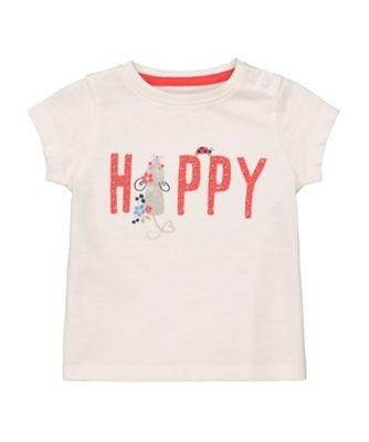 Mothercare Autumn Orchard Cream Happy EPP Short Sleeve T-Shirt