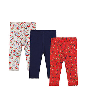 Mothercare Navy And Floral Leggings - 3 Pack