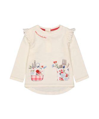 Mothercare Autumn Orchard Cream Pocket Long Sleeve T-Shirt